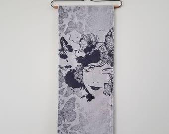 Wall Hanging - Wrap Scrap - Babywearing - Babywearing - BabyMonkey - Butterfly - Monarch Butterflies - Tapestry - Woman - Meditation