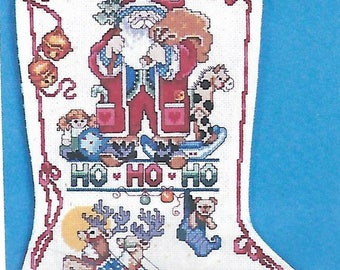 "Design Works ""HO-HO-HO"" counted cross stitch Christmas stocking kit #5390"