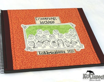 Great photo album, school class, book school memoirs, Handmade,  Made in Germany, Retro-Album, Retro-Style, gift teacher, reminder-book
