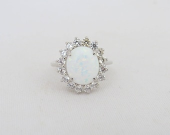 Vintage Sterling Silver White Opal & White Topaz Halo Ring Size 8
