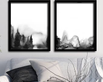 Black and White Watercolor Landscape Black and White Nature Art Black Watercolor Forest Art Print Nature Abstract Landscape Foggy Forest Art