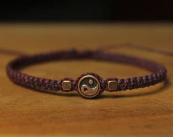 Plum bracelet copper bead