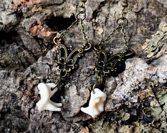 Coyote Teeth Earrings - Bone - Preserved - Taxidermy - Oddity - Animal
