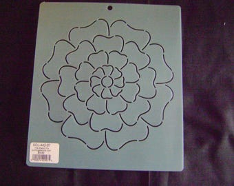 Sashiko Japanese Embroidery Stencil 7 in. Dahlia Motif Block/Quilting