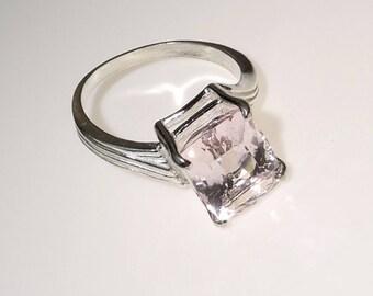 Sparkling Pink Morganite in Sterling Silver Ring MR1731