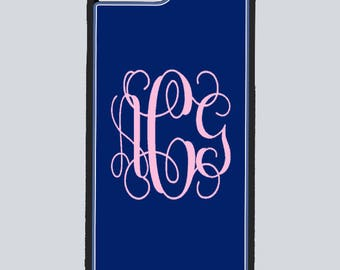 Monogram Iphone 5/5s, 6/6s, 6 plus, 7, 7 plus and Samsung S5,S6, edge Phone case with curly fancy or round initials