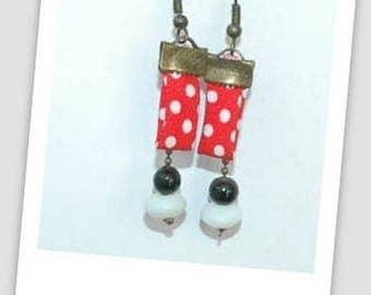 Polka dot fabric earring
