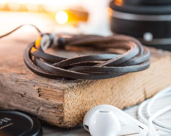 Brown genuine leather and waxed cord bracelet, mens bracelet, brown leather bracelet, waxed cord bracelet, casual bracelet