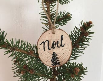 Noel Wood Slice Ornament