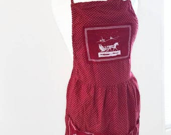 Vintage Red and White Apron with Holidays Accents 4 big Pockets One Size