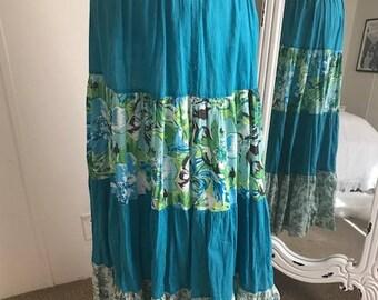 Vintage Turqouise Festival Flowered Skirt Fit Medium