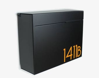 Black Larger Modern MITCH B mailbox, Modern Mailbox, Wall Mounted mailbox - contemporary #1411B