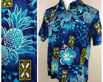 Gorgeous Vintage Barkcloth Hawaiian Shirt, NOS by Sears Hawaii