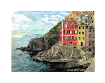 A view of the harbour at Riomaggiore, on the Cinque Terre, Italy