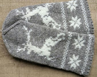 Mittens, L size, patterned winter gloves, hand knit woman wool mitts, merino lining, Latvian trad. pattern