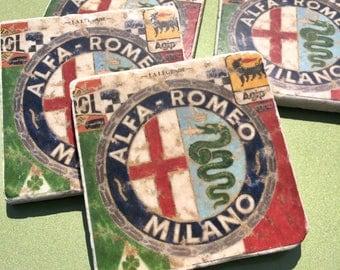 Colorful Alfa Romeo Design Natural Travertine Tile Coasters - Set of 4