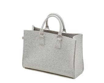 Felt bag light grey Heather shopper Sarah 100% Merino design wool felt-size B 44 x H 30 x D 18 cm