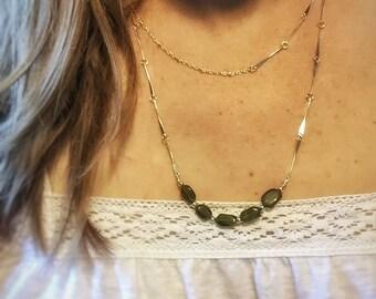 Vessonite Double Strand Necklace