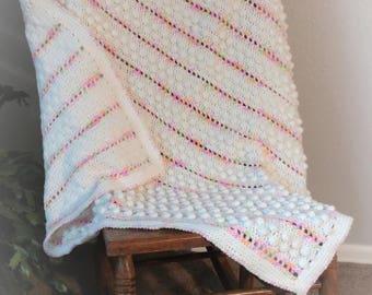 Pink/Green Orange Popcorn Stitch Crib Blanket Baby Afghan
