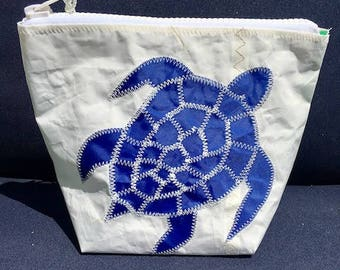 Sunblock Bag -Blue Turtle - Made from Recycled Sail