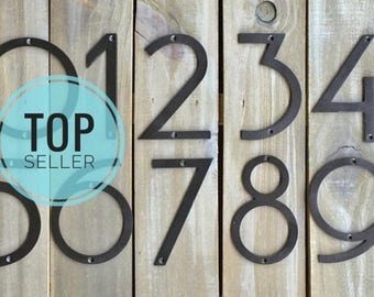 "Oversized Jumbo NUMBERS, Size 7"" Stong STEEL Address House or Clock Numbers Modern Mid Century Font, Best Seller!"