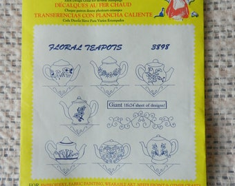 Aunt Martha's Hot Iron Transfers -  Floral Teapots - No. 3898 - Tea Towel patterns -  For Embroidering Dish Towels