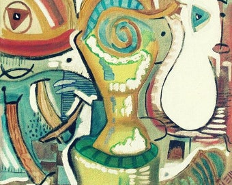 Abstract Figurative  Print ; 'Trophy ' Neo Expressionist Still Life .... New !