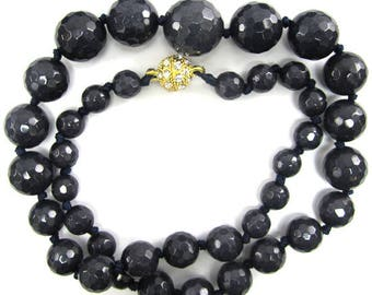 "8-16mm faceted sapphire blue jade round beads necklace 18"" 34732"