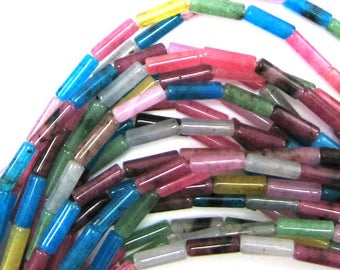 "13mm multicolor jade tube beads 16"" strand S1 33952"