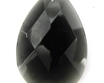 41mm faceted smoky quartz flat teardrop pendant bead 1019
