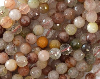 "6mm faceted multicolor rutilated quartz round beads 15.5"" strand 39591"