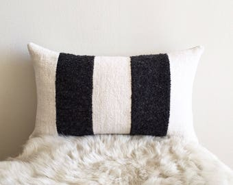 African Off-white Mudcloth & Charcoal Gray Wool Lumbar Pillow Cover (Size: 12x19)