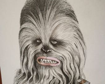 Chewbacca. Mini portrait 14x14 centimeters Original drawing made in pencil.