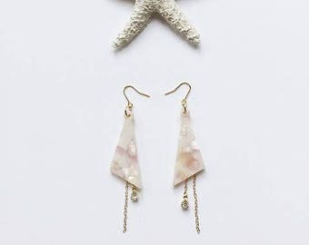 Marble acrylic triangle with chain earrings / Gift / Birthday gift