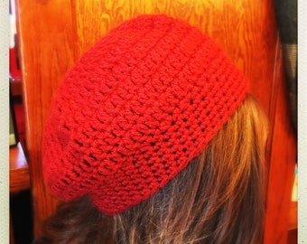 Crocheted Barn Red Slouchy Hat