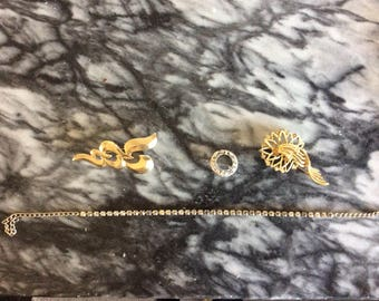 Vintage Costume Jewelry - 3 pins and necklace