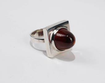 M.P Christoftersen Vintage Danish Sterling Silver and Amber Modernist Ring