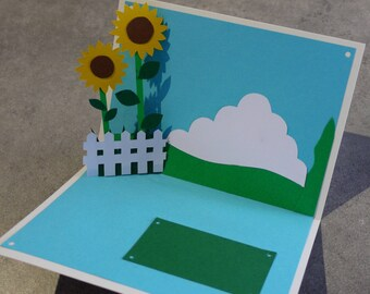 """Sunflowers"" Kirigami pop-up card"