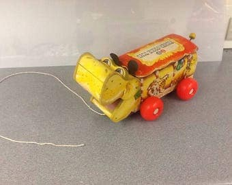 1962 vintage fisher price happy hippo wood pull toy
