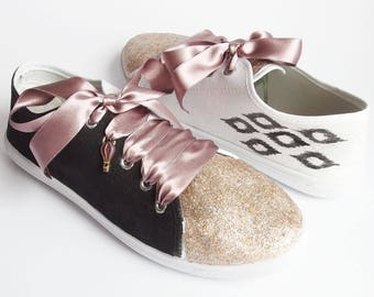 Glitter - Hand Painted and Decorated Sneakers with a Golden Front, Birthday Party, Casual Shoes,