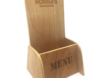 Menu Stand, Menu Holder with Company Logo or Name, Engraved with Laser Machine, Print Stand, Display Stand, Plywood Stand.