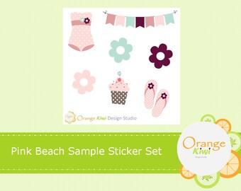Pink Beach Sample Sticker Set, Beach Stickers, Summer Stickers, Girly Planner Stickers