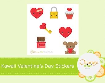 Kawaii Valentine's Day Stickers, Sample Sticker Set, Valentine's Day Planner Stickers