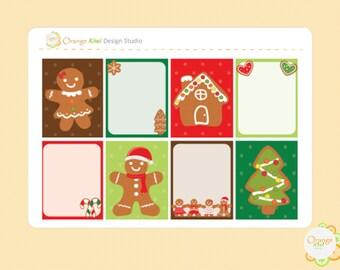 Gingerbread Cookie Stickers, Gingerbread Full Box Planner Stickers, Erin Condren Life Planner, Happy Planner, Gingerbread House Stickers