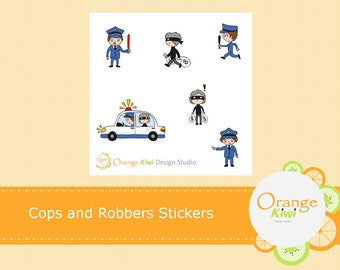 Cops and Robbers Stickers, Sampler Stickers, Planner Stickers