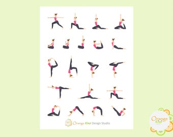 Yoga Stickers, Yoga Planner Stickers
