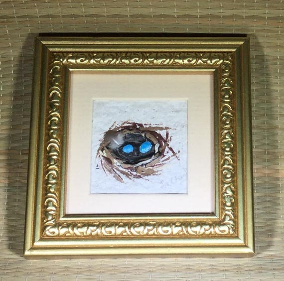 Miniature Painting/ Nest Painting/Nature Art/ Gold Frames