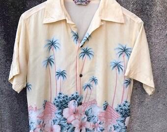 Mega Sale 20% Vintage Hawaiian Shirt Aloha Coconut tree Sun Surf Hawaiian Hawaii Aloha Flowers Asian Pattern Rayon Shirt Rare sz M
