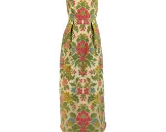 Vintage Prom Dress XS, Tapestry Dress, 60s Evening Dress, Embroidered Dress, Boho Prom Dress, Strapless Prom Dress, Column Dress, SIZE XS
