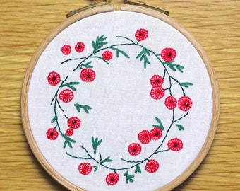 Embroidery - Red flower Crown
